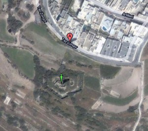 Satellite photo of the Zonqor Battery, Marsaskala, Malta, 35.86827,14.564308