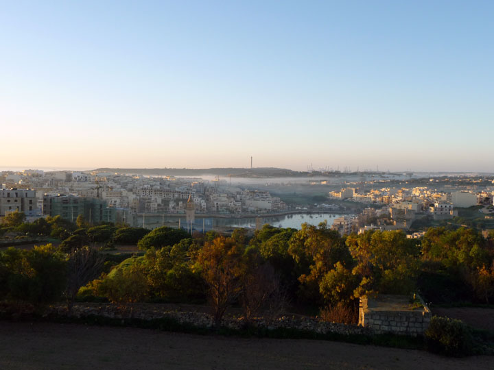 View towards Ta' Monita Residence and Marsaskala bay, January 2011, Malta, MLT