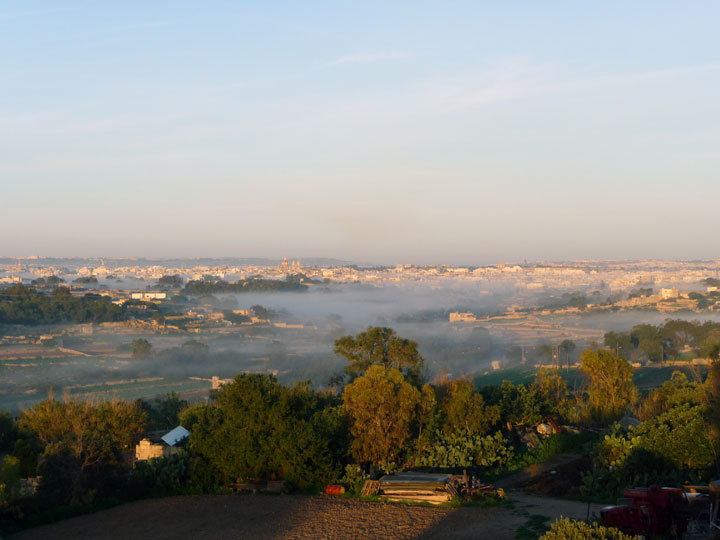 The view towards Zabbar, January morning, Marsaskala, Malta, MLT, January 2011