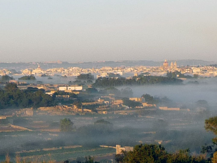 Zabbar church in a milky wave